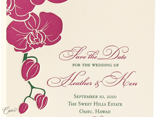 Aloha - Details - Luxury Wedding Save the Dates - Ceci Ready-to-Order Collection - Ceci Wedding - Ceci New York