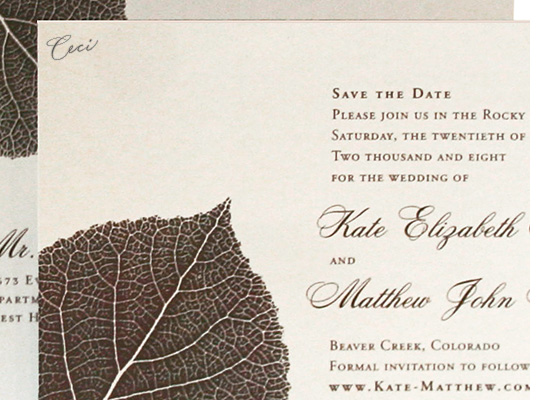 Aspen - Details - Luxury Wedding Save the Dates - Ceci Ready-to-Order Collection - Ceci Wedding - Ceci New York