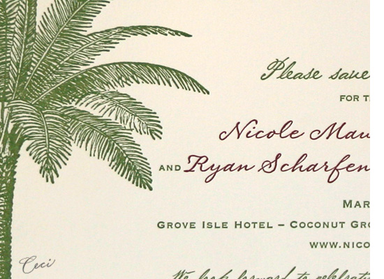 Palm Court - Details - Luxury Wedding Save the Dates - Ceci Ready-to-Order Collection - Ceci Wedding - Ceci New York