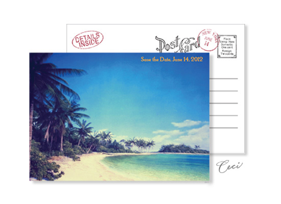 Beach 1 - Luxury Wedding Vintage Postcards - Ceci Ready-to-Order Collection - Ceci Wedding - Ceci New York