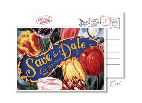 Garden 5 - Luxury Wedding Vintage Postcards - Ceci Ready-to-Order Collection - Ceci Wedding - Ceci New York