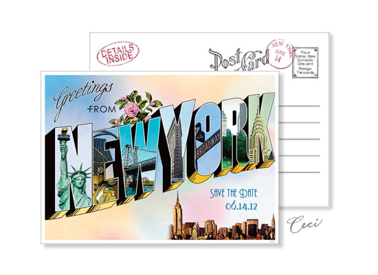 New York 1 - Luxury Wedding Vintage Postcards - Ceci Ready-to-Order Collection - Ceci Wedding - Ceci New York
