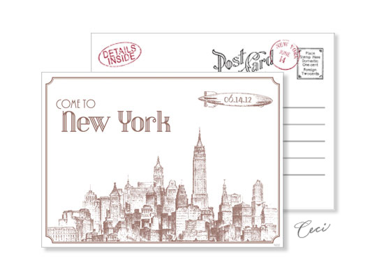 New York 2 - Luxury Wedding Vintage Postcards - Ceci Ready-to-Order Collection - Ceci Wedding - Ceci New York