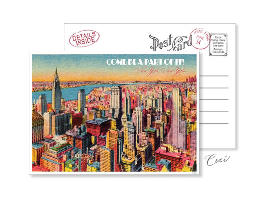 New York 5 - Luxury Wedding Vintage Postcards - Ceci Ready-to-Order Collection - Ceci Wedding - Ceci New York
