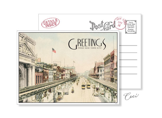 New York 8 - Luxury Wedding Vintage Postcards - Ceci Ready-to-Order Collection - Ceci Wedding - Ceci New York