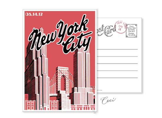 New York 9 - Luxury Wedding Vintage Postcards - Ceci Ready-to-Order Collection - Ceci Wedding - Ceci New York